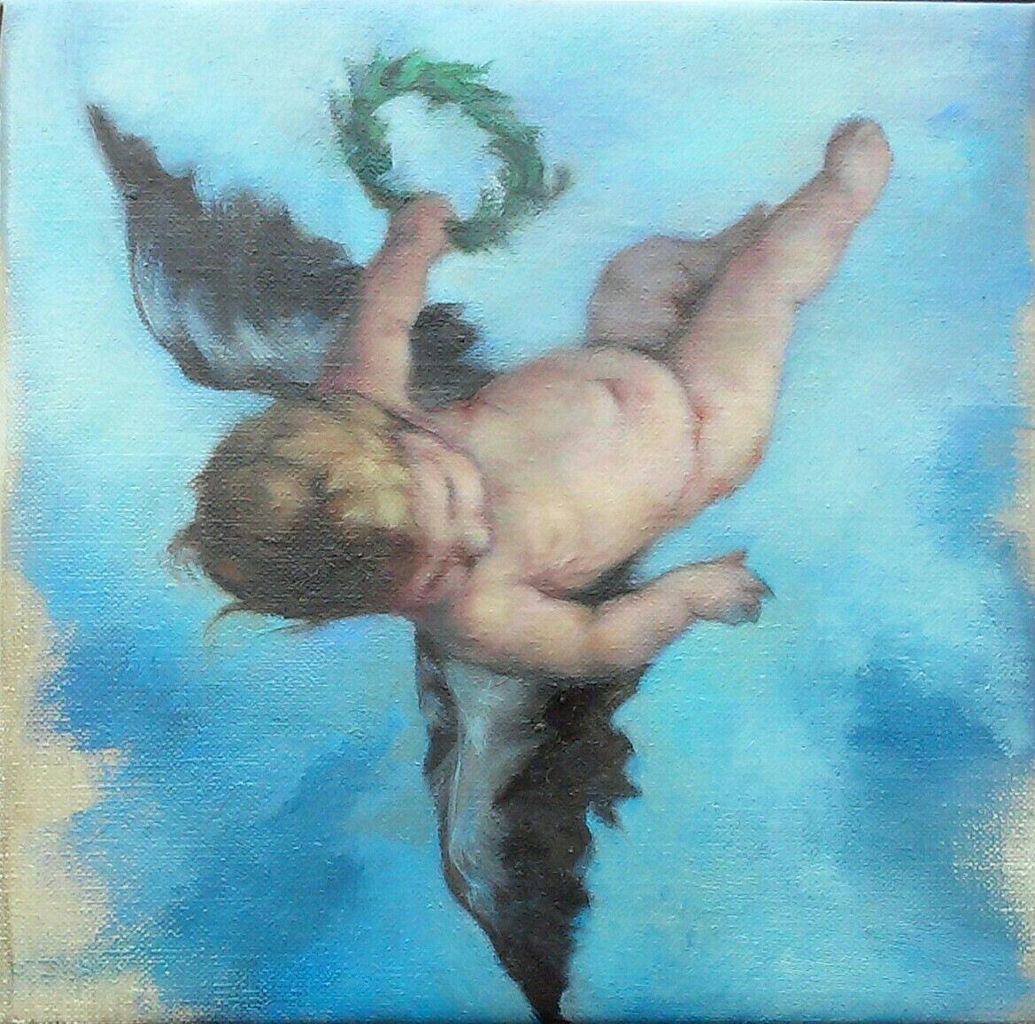 Putto with laurel crown