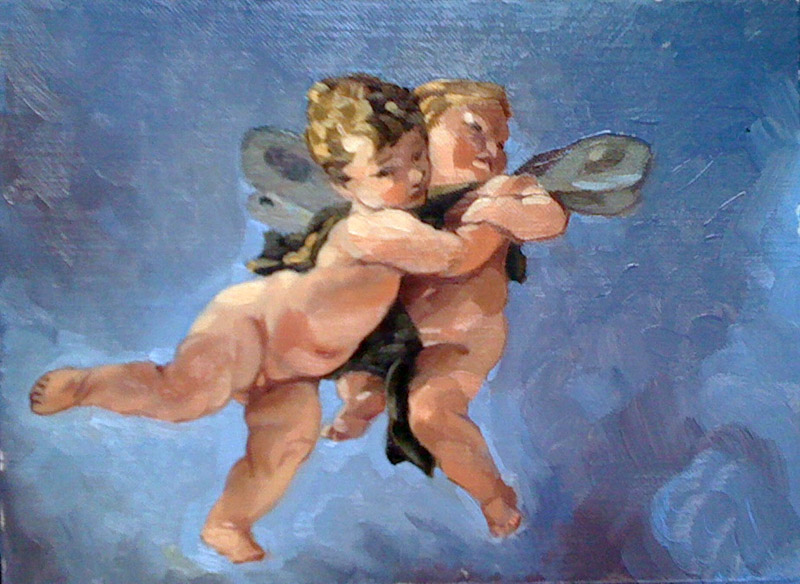 "'Amorous Putti' - after Tiepolo, from ""The Triumph of Zephyr and Flora"""